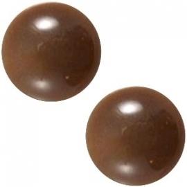 Cabochon Polaris 12mm centroperla donker bruin 23019