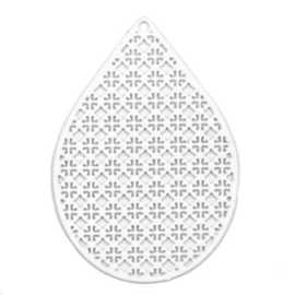 Bohemian bedel druppelvorm 39x28mm white 41537