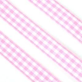 Geblokt lint 10mm per meter roze/wit