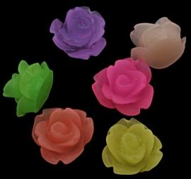 Roosjesmix 10x6mm diverse kleuren frosted 10 stuks (5x2) plaksteen
