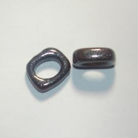 DQ Keramiek leerschuiver 18x14mm donker grijs glitter