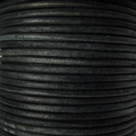 DQ Leer rond 4mm vintage zwart per 20cm