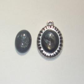 Cabochon 10x13mm ovaal pearl shine grijs mf71931