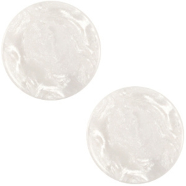 Cabochon Polaris plat 12mm jais wit beige 32550