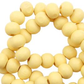 Houten kralen 6mm sunshine yellow 60669 10 stuks