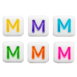 "Letterkraal ""M"" acryl vierkant 6x6mm multicolor-wit"