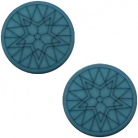 Cabochon Polaris plat 12mm winter star matt deep teal blue 31894