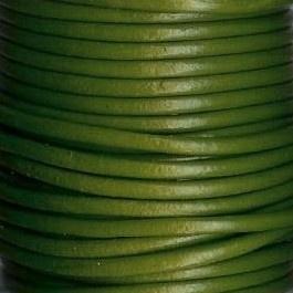 DQ Leer rond 2mm olijfgroen per 20cm