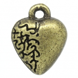 Hartje 12x9mm antiek bronskleur