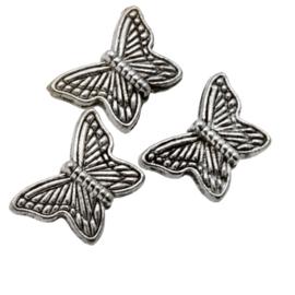 Metalen kralen vlinder 10x14mm antiekzilver metaal