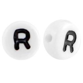 "Letterkraal ""R"" acryl plat rond 7mm wit-zwart"
