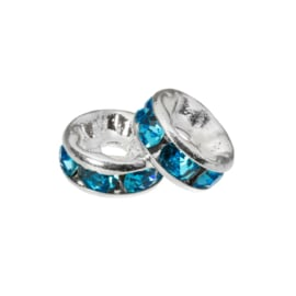 Rhinestone spacer 4x2mm blue K426