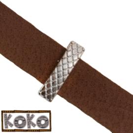 Leerschuiver  Koko rechthoek met ruit voor 10mm antiekzilver metaal FG533
