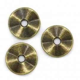 Platte ring golvend 10mm antiekbrons metaal