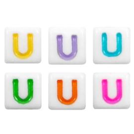 "Letterkraal ""U"" acryl vierkant 6x6mm multicolor-wit"