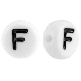 "Letterkraal ""F"" acryl plat rond 7mm wit-zwart"