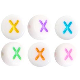 "Letterkraal ""X"" acryl plat rond 7mm multicolor-wit"