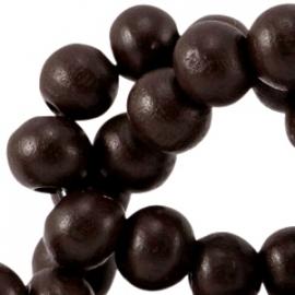 Houten kralen 8mm dark chocolate brown 31433 10 stuks