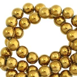 Hematite kralen rond 4mm gold 10 stuks 44460