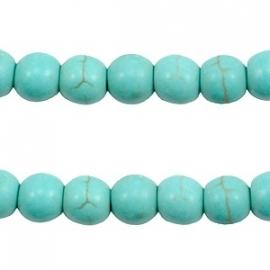 Turquoise Keramiek kralen rond 6mm turquoise blauw 37545
