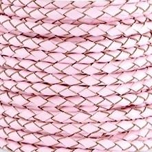 DQ Leer rond gevlochten 3mm light rose 28970