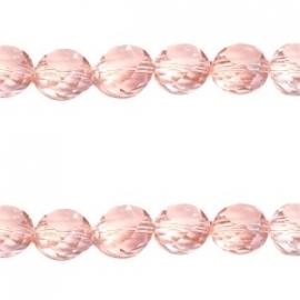 Top facet 6mm vlak geslepen light rose peach diamond coating 22339