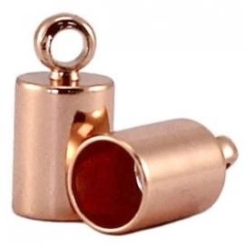 DQ eindkapje voor 6,5mm metaal roségold plated 8707