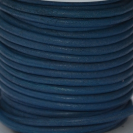DQ Leer rond 2mm vintage blue per 20cm