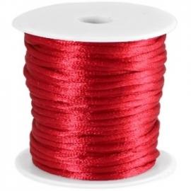 Satijnkoord rood 2mm per meter