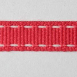 Lint met wit stiksel 10mm per meter fuchsia
