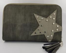 Portemonnee met ster en studs, donkergrijs