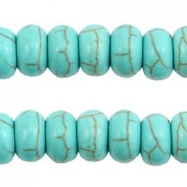 Turquoise Keramiek kralen disc 8mm turquoise blauw 37547