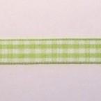 Geblokt lint 10mm per meter lichtgroen/wit
