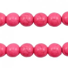 Turquoise Keramiek kralen rond 8mm hot pink 37572