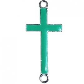 Kruis tussenzetsel 37x17mm bright groen-zilver