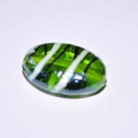 Glaskraal 19mm plat ovaal groen