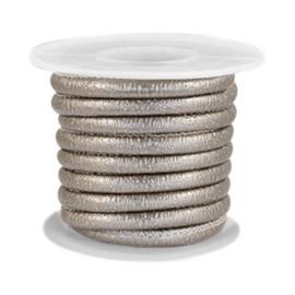Gestikt imitatie leer 4x3mm sparkle grey champagne metallic 40291