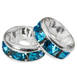 Rhinestone spacer 8x4mm blue K439