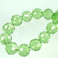 Glas facet 12mm rond lichtgroen