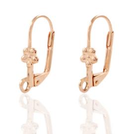 DQ sluitbare oorhaakjes 18x10mm rosé goud nikkelvrij, per paar 71668