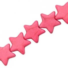 Turquoise Keramiek kralen ster 15mm hot pink 37563