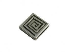 Leerschuiver vierkant 14x5mm antiekzilver metaal