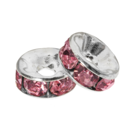 Rhinestone spacer 6x3mm pink K430