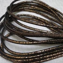 DQ Stitched nappa leer 3mm goud zwart reptiel