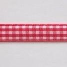Geblokt lint 10mm per meter rood/wit
