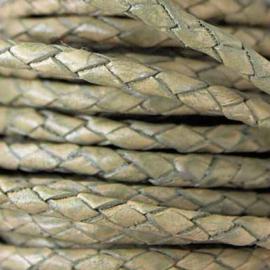 DQ Leer rond gevlochten 3mm vintage greenish stone 66626