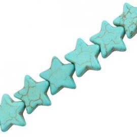 Turquoise Keramiek kralen ster 12mm turquoise blauw 37536