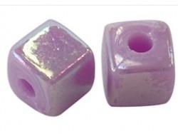 Acrylkraal 4x4mm vierkant lila paars AB