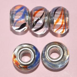 Pandora Style glaskraal 14x10mm transparant