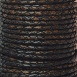 DQ Leer rond gevlochten 3mm antique donker bruin